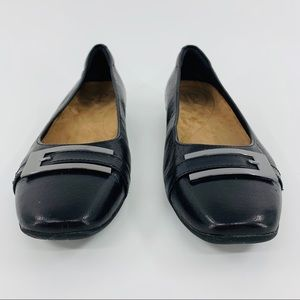 Clarks Artisan Black Flat with Silver Toe Buckle